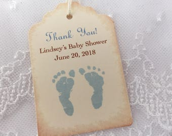Baby Footprint Tags Personalized Baby Shower Tags Thank You Favor Tags Set of 10