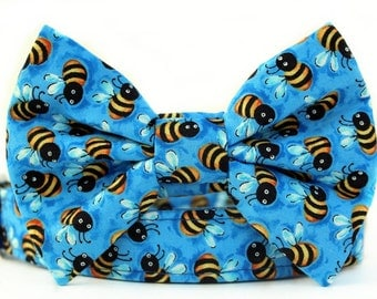 Sky Blue Bow Tie Dog Collar with NickelPlate Hardware - Bumble Bees in Blue, Yellow and Black