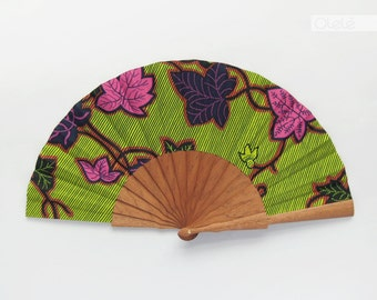 Spanish handmade folding fan with case - Boho Cottage Chic Hippie style accessory - hand fan eventail abanico faecher