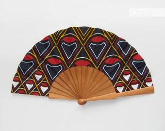 Ankara hand fan with case | Omolara | Fine geometry on blue | navy blue hand fan for men