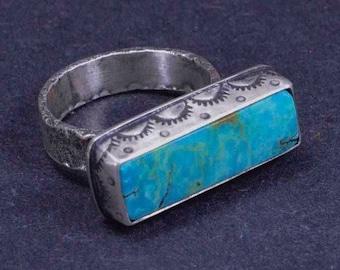 Turquoise Ring, Stamped Ring, Statement Ring, Boho, Silversmith, Size 7 1/2
