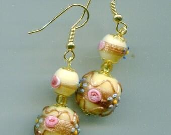 """Vintage Fiorato """"Wedding Cake"""" Venetian Earrings, 2 Colors ER20.ER1610"""