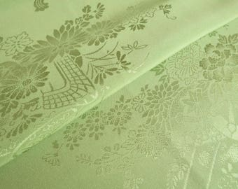 Japanese pure silk cloth from Kyoto Green Floral pattern
