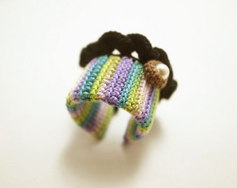 Crochet Lace Jewelry (Lace Fantasia 2-a) Crochet Ring Statement Ring Fiber Ring