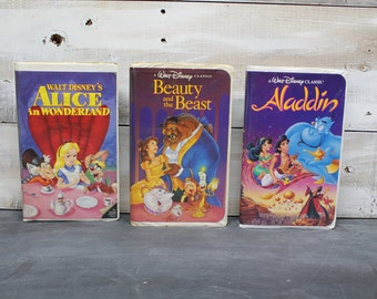 Vintage Disney VHS Movies, Black Diamond, The Classics, Beauty and the Beast, Aladdin, Alice in Wonderland