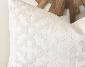 Quatrefoil Pillow Cover - White - Decorative Pillow - More Sizes