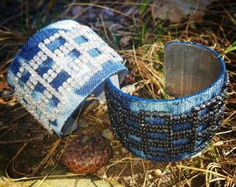 NEW- Denim Bracelet- Cuff acidwashed Rhinestone Jeans