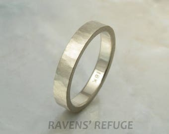 matte white gold ring / wedding band -- organic and rustic in 18k gold