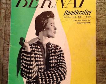 Vintage 1957 Bernat Handicrafter Bulky Knits Knitting Pattern Book 55
