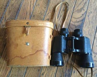 Vintage Hurricane Japan Binoculars Leather Case 7 x 35 Field View