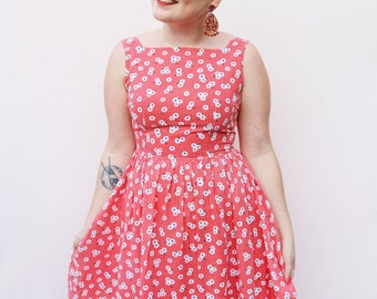 Red Check Floral Dress - One Off - Handmade from vintage fabric!