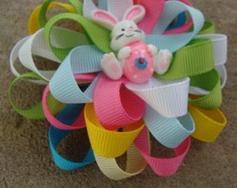 Easter Hair Bow - medium hair bow easter bunny hair bow multicolors hair bow loopy hair bow round hair bow white bunny hair bow bunny bow