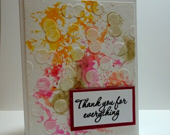 Handmade Watercolor Thank You Card in Maroon, Orange & Brown