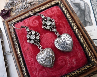 Silver Puffed Heart Love Charm Earrings, Weaving & Flourishing, by RusticGypsyCreations