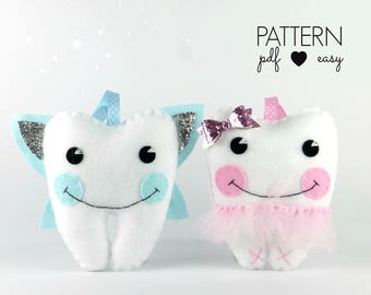 Tooth Fairy Pillow Sewing Pattern, Felt Pattern, Craft Fair Pattern, Tooth Fairy Pillow Girls, Tooth Cushion, Tooth Shaped Pillow