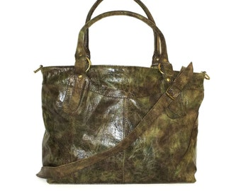 Leather Tote Bag Leather Laptop Bag Leather Handbag Leather Crossbody Bag Leather Tote Bag IPad bag Leather purse Nora L Distressed Green