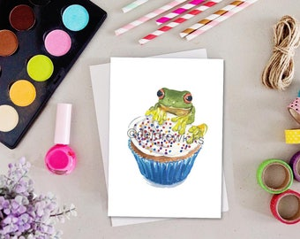 Frog Greeting Card - Blank Card, Stationary, Birthday Card, Anniversary Card, Tree Frog