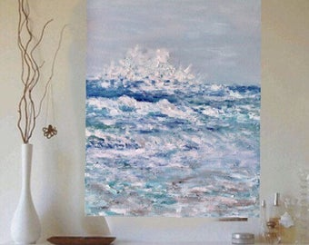 Seascape Coastal Waves Original acrylic painting 18 w x 24 hx .75 Ready to  Ship Free in US