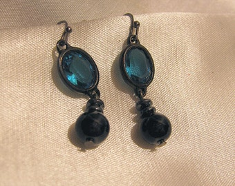 Aqua Black Pearl Hematite Drop Earring