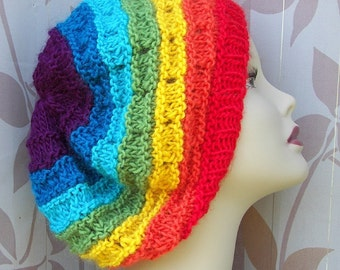 RAINBOW Hand Knit Slouchy Hat in SOFT Wool Mohair /  Chakra Knits / Coloful Gift / Yoga