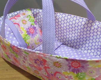 Doll Carrier ,Lavender Floral, Lavender Lining, 14 Inches Long