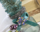Vintage Bottle Brush Christmas Tree / Seaside Aqua / vintage embellished bottle