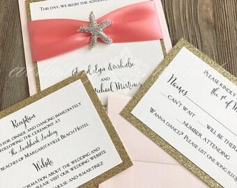 Rhinestone Starfish Invitation, Beach Wedding, Seaside, Destination Wedding, Turquoise, Deep Sea Blue, Ocean Blue