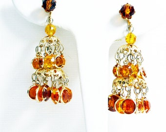 Chandelier Pierced Earrings - Gold Tone Dangling Earrings - Topaz Round Faceted Glass Rhinestones - Prong Set - Retro Made in Hong Kong