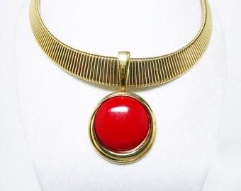 Trifari Choker Pendant Necklace - Wide Gold Tone Necklace w Sliding Red Lucite Circle Pendant Designer Signed - Vintage 1980's 1990's Retro