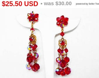 Spring Sale Red Dangling Bead Earrings - Chandelier Clip ons with Gold Tone Hearts - Red Aurora Borealis Beads - Vintage 1980's 1990's St...