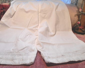 Antique Cotton And Lace Edwardian Bloomers