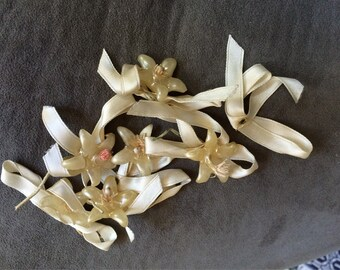Vintage Bridal Crown Orange Blossoms Small Lot of Wax Flowers on Ribbon Downton Abbey Shabby Chic Vintage Bridal to Upcycle