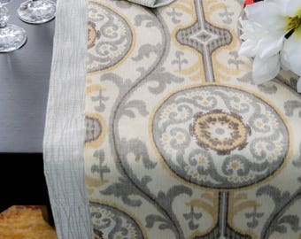 Medallion grey yellow suzzani mittered reversible table runner