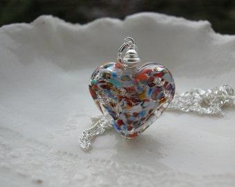 Silver Klimt Murano Double Heart Glass Necklace