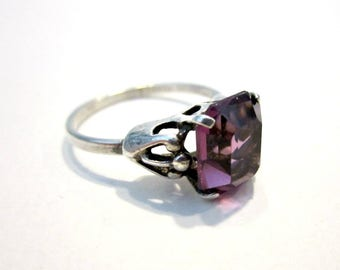 Vintage Sterling Amethyst Ring Size 8 Genuine Sterling Silver Purple Stone Ring Gift for Her Jewelry Gift idea Signed Sarah Coventry