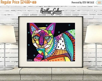 50% Off Today- Siamese CAT Folk art  Poster Print of painting by Heather Galler (Hg837)