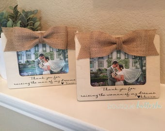 Parents Gift Thank You For Raising The Man Woman Of My Dreams Wedding Thank You Gift For Parents Of The Bride & Groom 4x6 Picture Frame Set