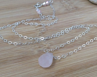 Pink Gemstone Necklace, Rose Quartz Pendant Necklace, Soft Pink Simple Necklace, Sterling Silver Necklace, Cotton Candy, Light Pink