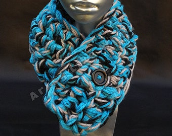 MADE TO ORDER Light Blue Black and Gray Handmade Crocheted Adjustable Neckwarmer Cowl | Team Spirit Wear Scarf | Sports Colors | Chunky Cowl