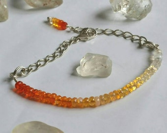 Outback Sunset Mexican Fire Opal gemstone and fine silver bracelet