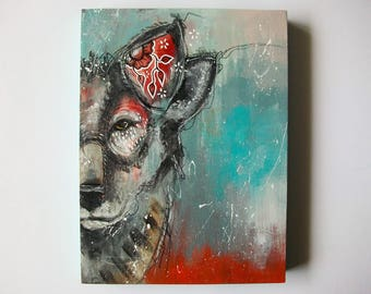 Original wolf painting mixed media art painting on wood canvas 8x6 inches - Hearing but not listening