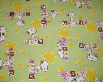 18X22, SNOOPY, Giggle, Dream, Play, Cotton Fabric, Fat Quarter, Green, snoopy fabric, baby snoopy fabric, snoopy giggle fabric,