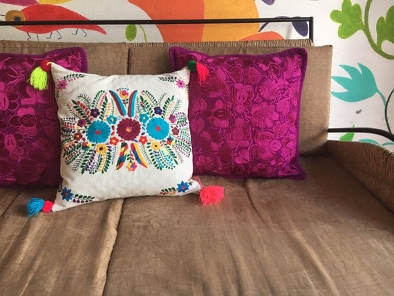 Embroidered Mexican Cover Pili Pillow