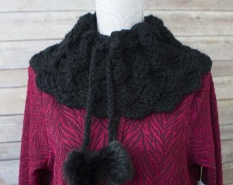 Black Crochet Pompom Cowl