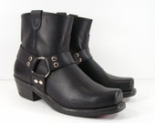 harness ankle boots womens 10 W black Double H vintage western leather biker