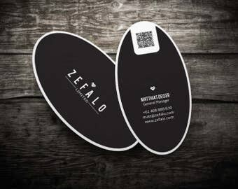 200 Business Cards or hang tags - Oval and other die-cut custom shapes - 14 PT stock - 30 unique shapes to choose from