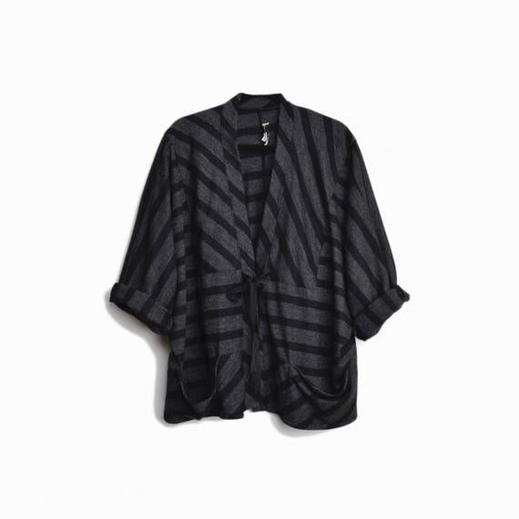 Vintage Striped Wool Batwing Jacket Top in Gray & Black / Louis Simon for LA Libellule Top / Avant Garde Wool Top - women's large
