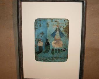 Lovely Authentic Old Mexican Tin Ex Voto Retablo Framed Exvoto Folk Art