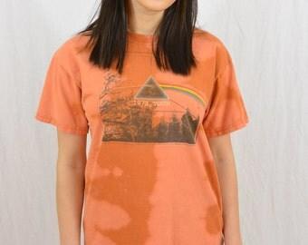 Upcycled Pink Floyd T Shirt, Size Small-Medium, Rock Band, Acid Rock, Orange, Bleach Destroyed, OOAK, Tumblr T Shirt, 1960's-70's
