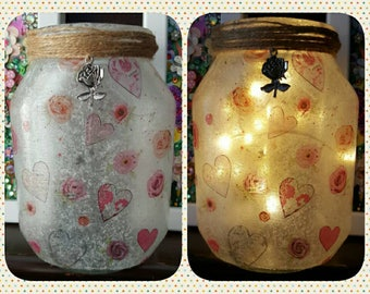 Upcycled Jar, Decoupage, Fairy lights, lamp, recycled, rustic, hearts and roses, valentines